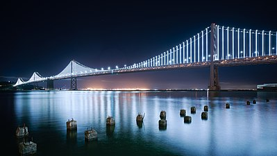 San Francisco Bay Bridge Western Span at night.jpg