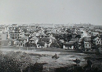 St. Augustine, Florida - View of St. Augustine in 1891 from the former San Marco Hotel, Spanish St. on left, Huguenot Cemetery lower left corner, Cordova St. on right