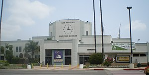 Los Angeles Maritime Museum - Streamline Moderne Harbor Avenue facade and clock tower of museum.