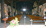 Interior view facing main entrance, church, San Rafael de Velasco, Bolivia