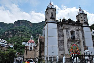 Chalma, Malinalco - Sanctuary of Chalma with cliffs in the background