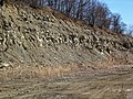 "Sandstone-dominated overburden over ""Middle Blue"" shales (Vinton Member, Logan Formation, Lower Mississippian; Hanover Pit, Licking County, Ohio, USA) 10 (47632552111).jpg"