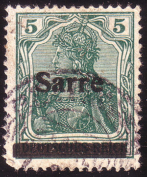 "Postage stamps and postal history of the Saar - First overprint ""Sarre"", 1920"
