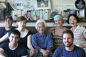 Satsue Mito - Satsue Mito in her house in Kojima with student visitors from the United States in May 2007