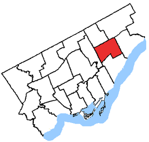 Scarborough Centre (provincial electoral district) - Scarborough Centre in relation to the other Toronto ridings