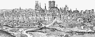 Munich Frauenkirche - General view of Munich from the Nuremberg Chronicle, Frauenkirche in the center