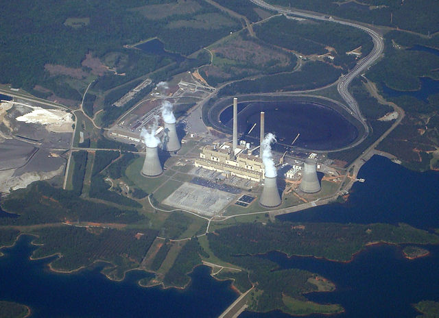 Aerial view of the Robert Sherer power plant north of Macon, Georgia