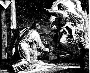 Covenant of the pieces - The Vision of the Lord Directing Abram to Count the Stars (woodcut by Julius Schnorr von Carolsfeld from the 1860 Bible in Pictures)