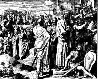 Books of Chronicles - Rehoboam and Jeroboam I, 1860 woodcut by Julius Schnorr von Karolsfeld