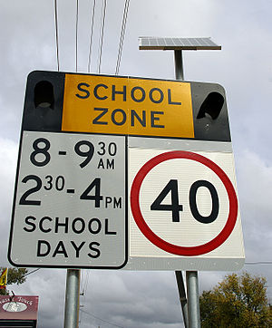 School zone - A solar powered school zone sign used in New South Wales, Australia