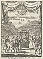 Schrijfster Marie-Catherine d'Aulnoy in een draagstoel begroet door vijf ruiters Titelpagina voor M.C. D'Aulnoy, Reyse door Spaignien, neffens memorien van des selfs hofs, 1696, RP-P-1896-A-19368-1026.jpg