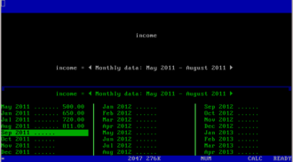 Javelin Software - Screenshot: A variable with monthly period