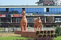 Sculptures at Sree Sankaracharya University of Sanskrit entrance.jpg
