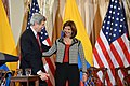 Secretary Kerry and Colombian Foreign Minister Holguin Walk Off Stage After Addressing the U.S.-Colombia High-Level Partnership Dialogue (12841381684).jpg