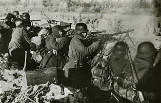 Blue Division - Soldiers of the Blue Division in a trench at the Eastern Front.