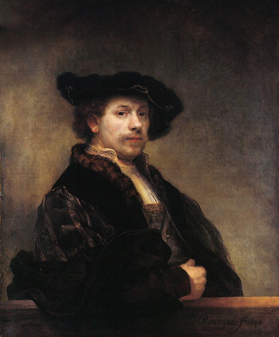 Self-portrait at 34 by Rembrandt (rectangular detail)