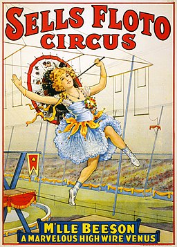 Sells Floto Circus presents M'lle Beeson, a marvelous high wire Venus, performance poster, 1921