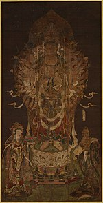 Frontal view of a deity with a large number of arms. Small heads and figures are seen above the head of the main figure.