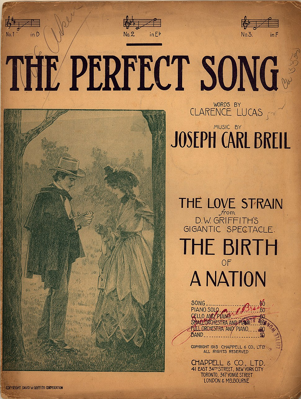 Sheet music for %22The Perfect Song%22 from The Birth of a Nation