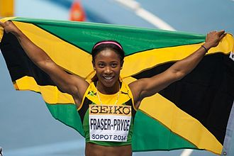2014 IAAF World Indoor Championships – Women's 60 metres - Shelly-Ann Fraser-Pryce after winning the final.