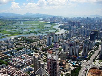 Sham Chun River - City of Shenzhen and Yuen Long, Hong Kong, divided by Sham Chun River