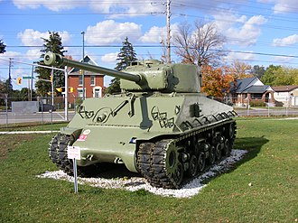The Royal Canadian Regiment Museum - Sherman M4A2E8 (76 mm) HVSS tank displayed near the Royal Canadian Regiment Military Museum