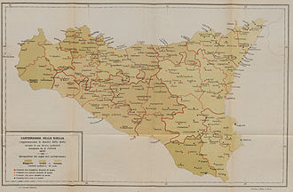 Sicilian Mafia - 1900 map of Mafia presence in Sicily. Towns with Mafia activity are marked as red dots. The Mafia operated mostly in the west, in areas of rich agricultural productivity.