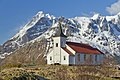 Sildpollnes Church and Higravstindan, Austvågøya, Lofoten, Norway, 2015 April.jpg