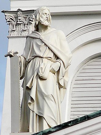 Zealots - Statue of Simon the Zealot by Hermann Schievelbein at the roof of the Helsinki Cathedral.