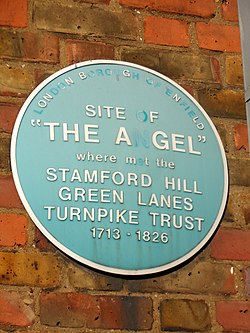 Site of the angel where met the stamford hill green lanes turnpike trust 1713 %e2%80%93 1826