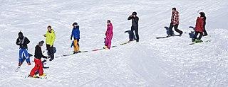 Ski school an establishment that teaches skiing, typically in a ski resort