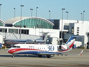 Skywest CRJ 200 in anniversary coloring