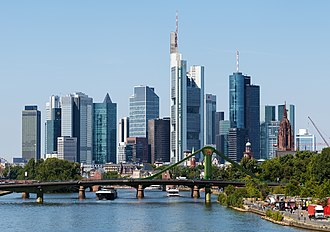 Financial centre - Frankfurt`s banking district, home to various global and European bank headquarters. The district houses the biggest German stock exchange as well as many European and German regulators.