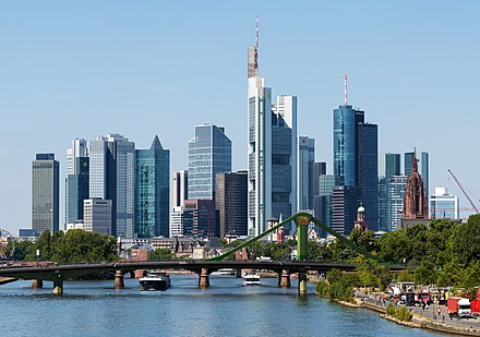 Frankfurt's banking district, home to various global and European bank headquarters. The district houses the main German stock exchange and many EU and German regulators. Skyline Frankfurt am Main 2015.jpg