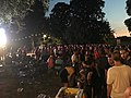 """Soccer fans at """"Gemeenteplein, 2550 Kontich, Province of Antwerp, Kingdom of Belgium"""" on 6 July 2018, 22.45PM, after the Belgium team had defeated the Brazilan one during the quarter finals of the FIFA World Cup 2018.jpg"""