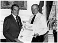 Sol Chaikin and Mayor Ed Koch in New York's City Hall, holding a proclamation for Cambodian Relief Month. (5279404928).jpg