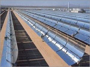 Sustainable energy - A solar trough array is an example of green energy.