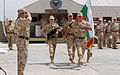 Soldiers from the incoming Bulgarian forces unit march across Patriot Square in a change of command ceremony Sept 100901-A-GY802-026.jpg
