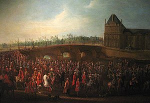 Yirmisekiz Mehmed Çelebi - Departure of Mehemet Effendi from the Tuileries, on 21 March 1721. Sortie de l'ambassadeur, 1721. Pierre-Denis Martin (1663 - 1742). Musée Carnavalet.