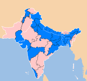 2007 South Asian floods - South Asia subdivisions affected by flooding between 3 July and 15 August 2007 (marked in blue).