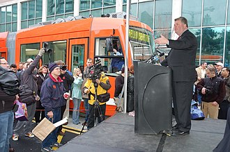 South Lake Union Streetcar - Mayor Greg Nickels speaking at the inauguration of the South Lake Union Streetcar, December 12, 2007