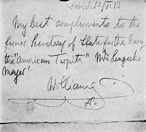 Souvenir note from Kaiser Wilhelm II to George v L Meyer