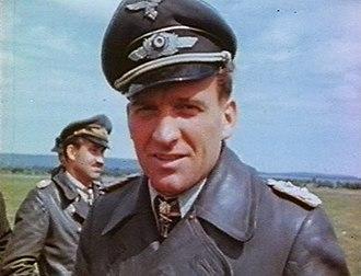 Hans-Ulrich Rudel - Hans-Ulrich Rudel in 1945 (Adolf Galland in the back-ground)