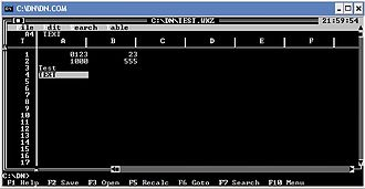 DOS Navigator - Spreadsheet in DOS Navigator
