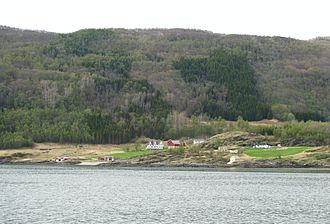 Troms - Landscape with small farms and planted spruce. Dyrøy, May 2010