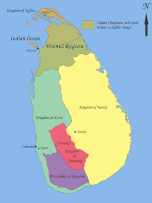 "Sinhalese monarchy - Map showing geopolitical situation in the Sinhalese Kingdom in the early part of 16th century after the ""Spoiling of Vijayabahu"" in 1521."