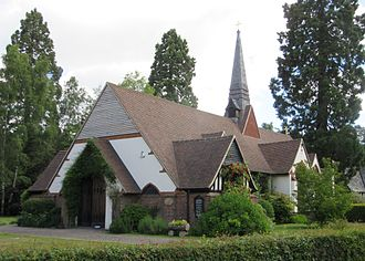 Church of St. Edward the Martyr, Brookwood - The church from the southwest