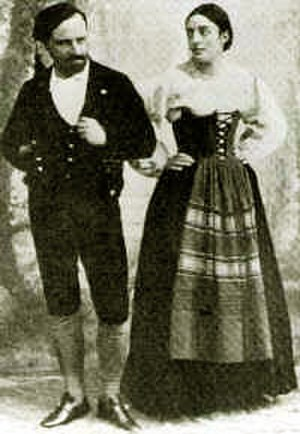 Gemma Bellincioni - Gemma Bellincioni as Santuzza, and her partner on stage and in private life, Roberto Stagno, as Turiddu, costumed for the 1890 Rome premiere of Cavalleria rusticana.