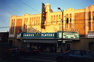 Stanley Industrial Alliance Stage - The Stanley Theatre with for sale signs in September 1991, shortly before its closure as a movie house