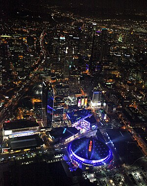 L.A. Live - Aerial view of L.A. Live  and Staples Center at night